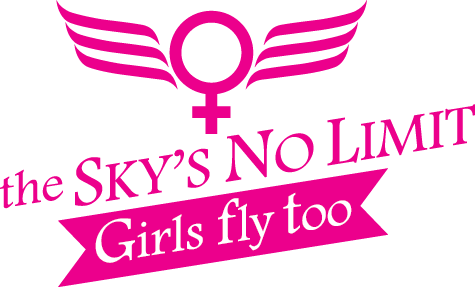 The Sky's No Limit - Girls Fly Too! logo